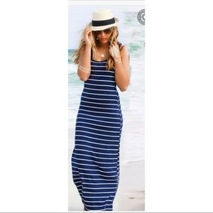 Navy & White Stripe Fitted Maxi Tank Dress, Fitted